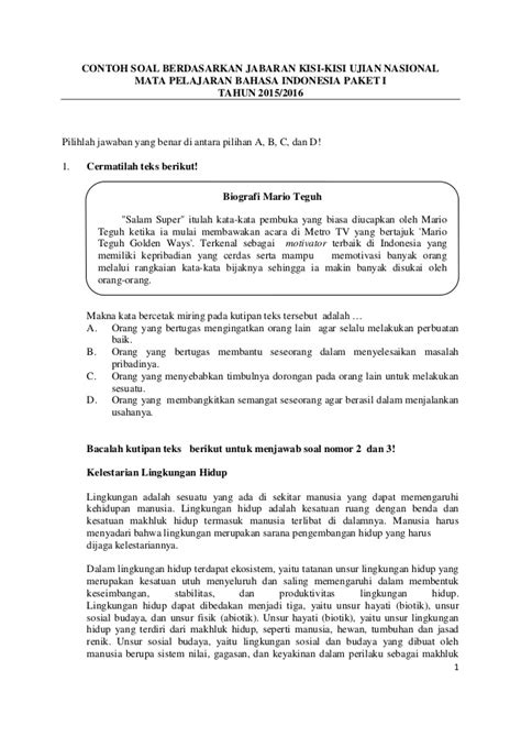 soal un bahasa indonesia 2016 contoh soal pengayaan bahasa indonesia un 2016
