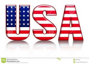 usa colors usa letters word with flag background stock illustration