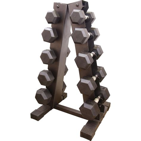 Rubber Hex Dumbbell Set With Rack by Cap Barbell Rubber Coated Hex Dumbbell Set With A Frame