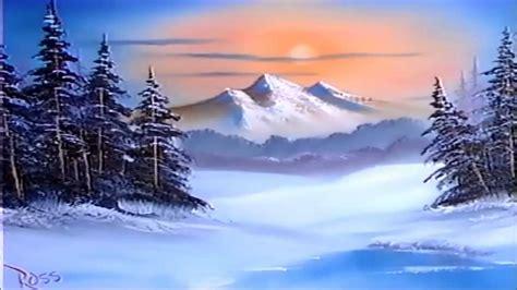 bob ross paintings snow bob ross episode s9 e1 winter evergreens