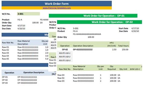 production order form template basic production templates pack