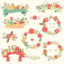 Set of floral wedding vectors with different elements ribbons arrows