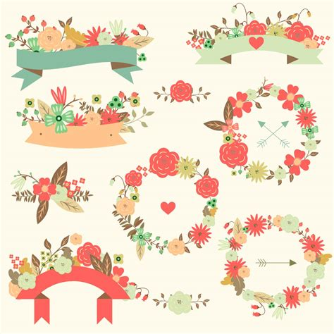 Decorative Wreaths For The Home by Floral Vector Wedding Ribbon Pattern Set Free Download