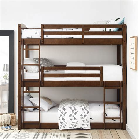 bunk beds images dorel living dorel living sierra triple bunk bed mocha