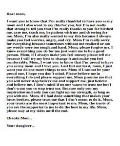 Example Thank You Letter Mom sample mom thank you letter free sample example format download