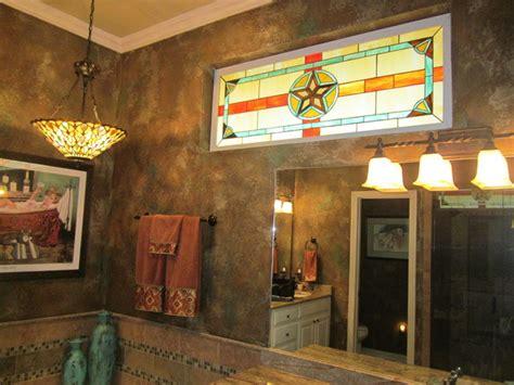 texas star stained glass window  master bathroom