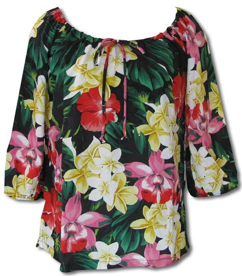 Hawaiian Jungle Flowers Women's Peasant Blouse