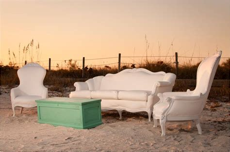vintage white lounge pieces for outdoor wedding reception
