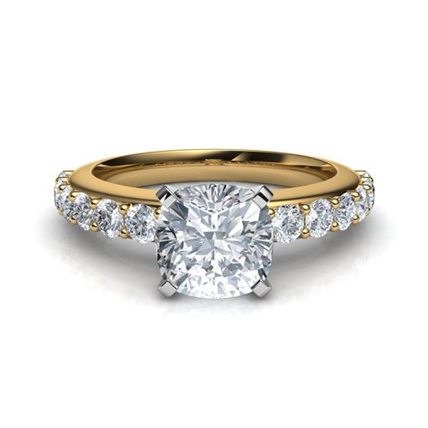 shared prong vintage style cushion cut engagement ring in