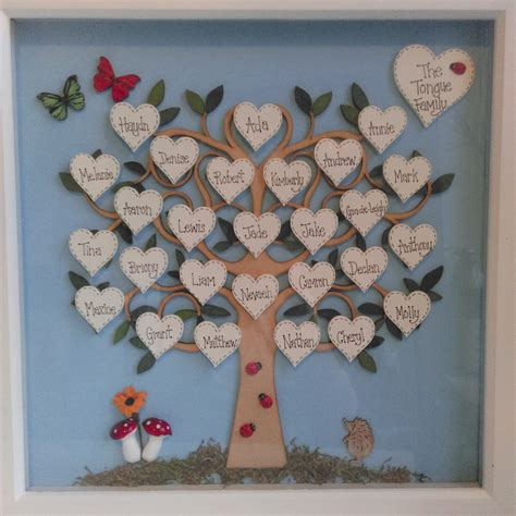 handmade family tree box frame family tree large woodland