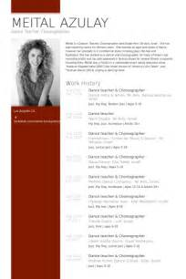 Choreographer Resume by Resume Sles Visualcv Resume Sles Database