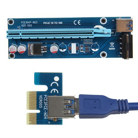 Pci E Pcie Pci Express Riser Card Usb 3 0 1x To 16x 6 Capasitor pcie pci e pci express riser card 1x to 16x usb 3 0 data cable sata to 4pin ide molex power