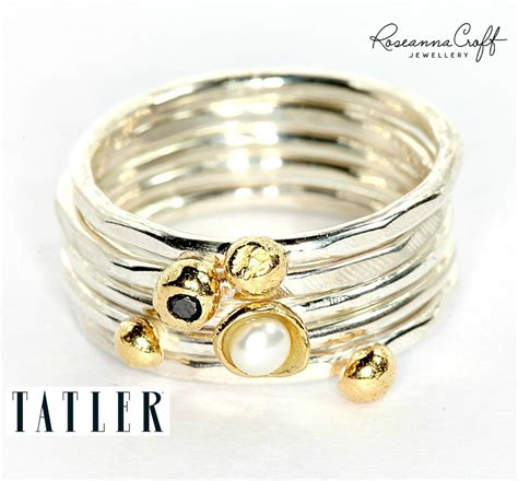 Handmade Silver And Gold Rings - handmade stacking rings in sterling silver and 18ct yellow