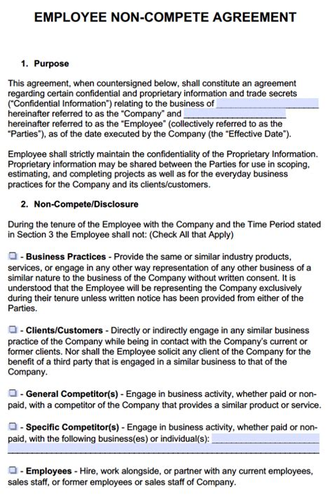 confidentiality and non compete agreement template employer employee non compete agreement template