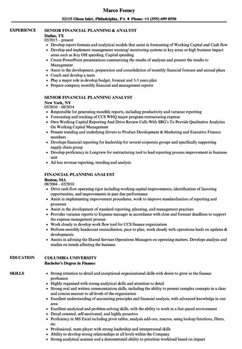 financial planning and analysis resume exles financial planning and analysis resume resume ideas