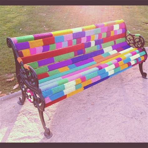 colorful bench crazy yarn projects you ve never even dared to try