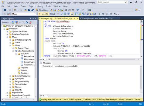 tutorial sql database design sql server 2016 create a view