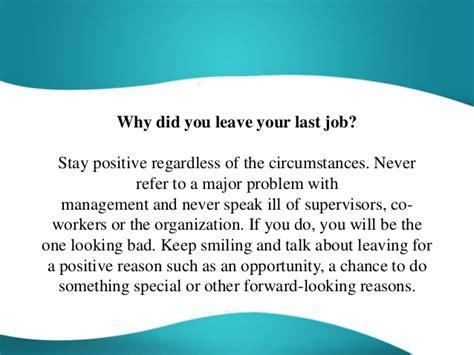 good reasons for leaving a job tdk technologies