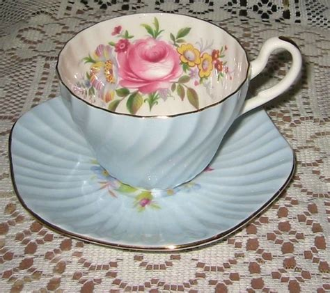 foley florals on blue teacup set shabby chic