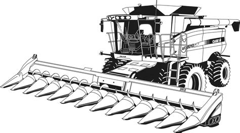 combine tractor coloring page combine harvester case ih coloring pages printable farm