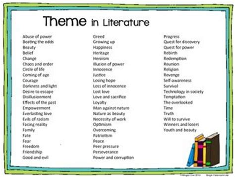 5 themes of literature theme list literature