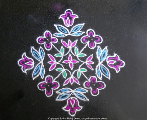 design flower kolam with dots flower rangoli with dots