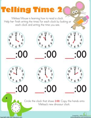 search results for telling time to the hour worksheets
