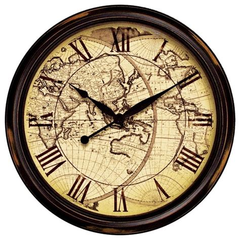traditional wall clock nautical distressed map 24 quot wide wall clock traditional