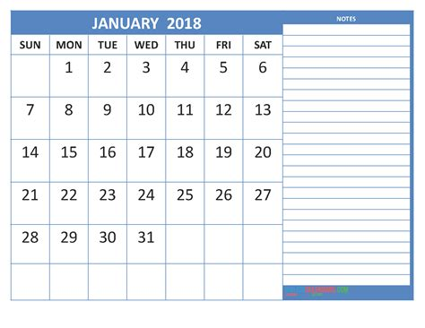 Printable January 2018 Calendar Pdf