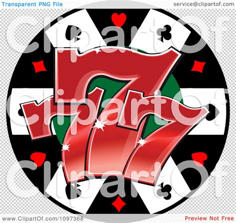 clipart poker chip with three lucky number sevens