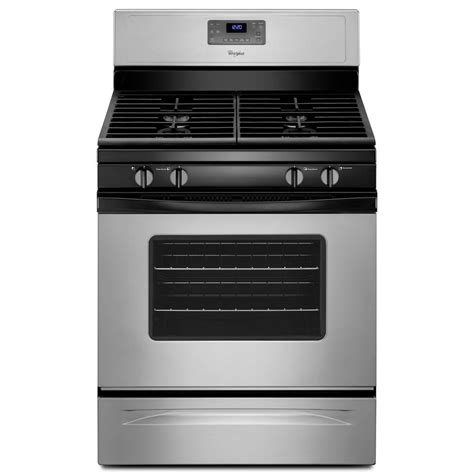Oven Gas 1 Pintu whirlpool 5 0 cu ft gas range with self cleaning oven in silver wfg515s0ed the home depot