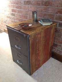 rough luxe vintage metal filing cabinet encased in