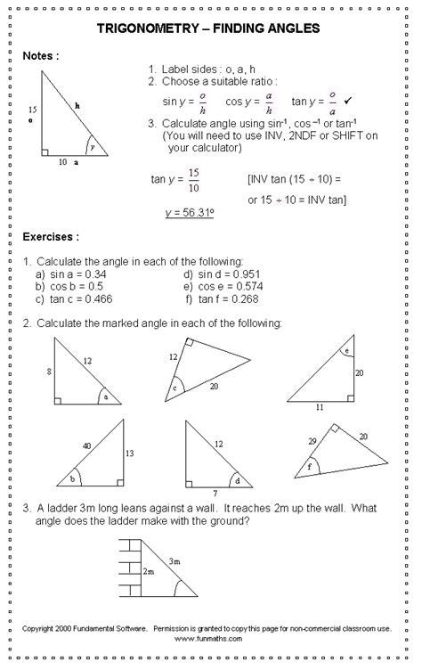 maths trigonometry worksheets math worksheet go sohcahtoa trigonometry triangle sides