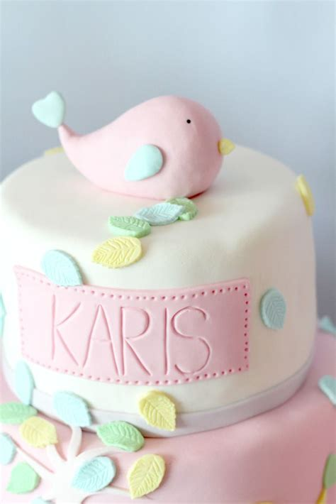 Bird Themed Baby Shower Cake by Baby Shower Cake Fondant Bird Cake Topper Via Kara S