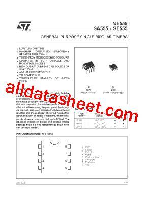 555 integrated circuit datasheet ne555 데이터시트 pdf stmicroelectronics