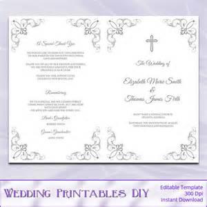 wedding booklet templates items similar to catholic wedding program template diy silver gray cross ceremony booklet