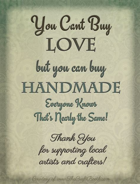 Buying Handmade - free printable sign support local artists and crafters