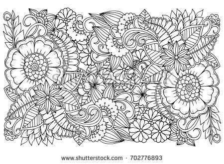 doodle floral drawing art therapy coloring stock vector