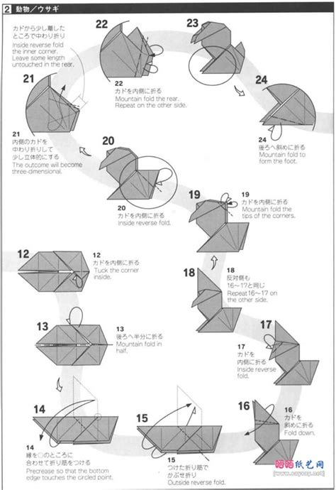 Origami Rabbit Diagram - origami rabbit diagrams 4 origami
