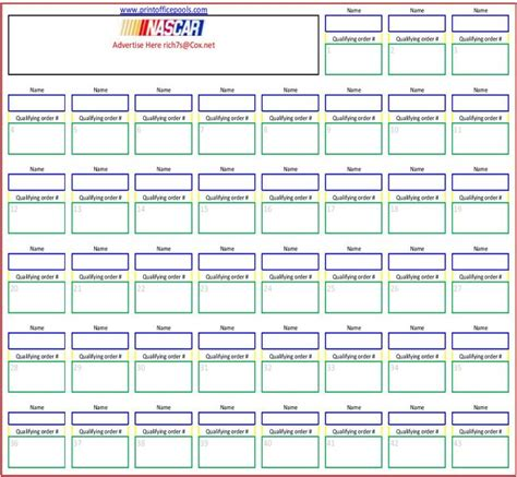Office Football Pool Forms Nascar Pool Sheets Printable 43 Square Nascar Office