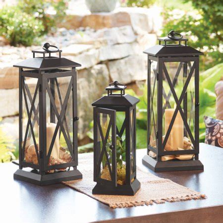 Patio Lantern Lights Walmart Better Homes And Gardens Crossbar Metal Outdoor Lantern