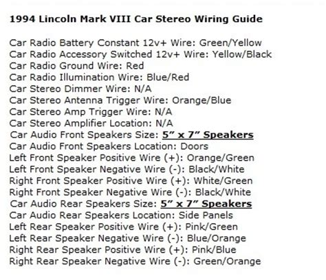 lincoln town car radio wiring diagram wiring diagrams