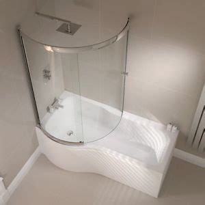 Small Main Bathroom Ideas by P Shape Shower Bath 1500 1700mm With Full Screen Left Or