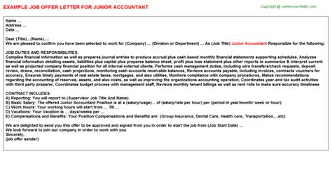 Appointment Letter For Junior Accountant Justice Offer Letters