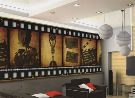 home theater decor home theater decor filmstrip wallpaper wall mural