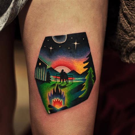 david cote tattoo landscape on the thigh