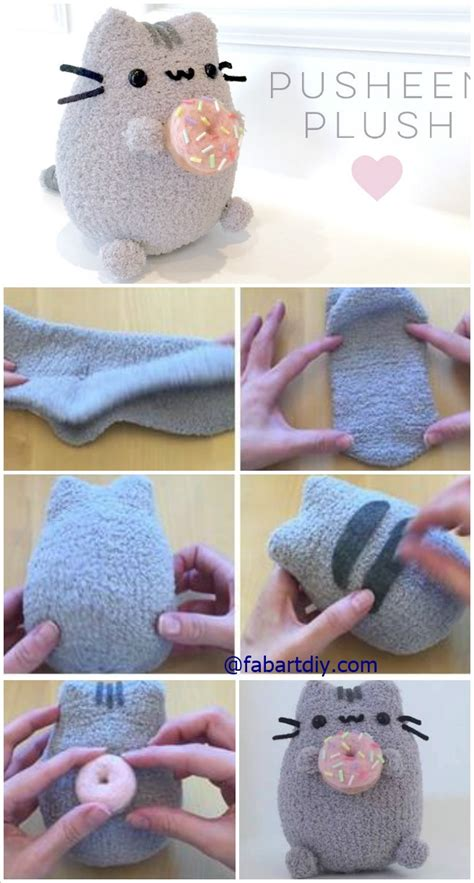 easy sock animals tutorial diy donut pusheen cat sock plush softie tutorial