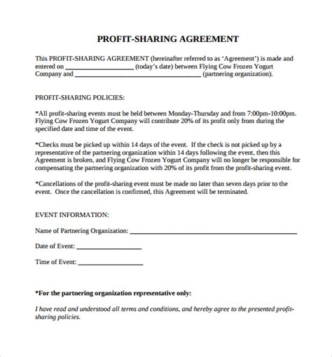 shared service agreement template profit agreement template sle forms of