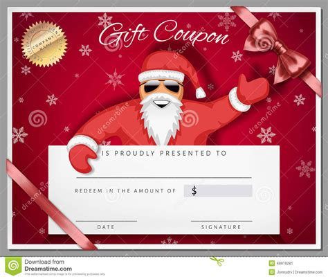 santa gift certificate template gift certificate template as coupon with santa claus