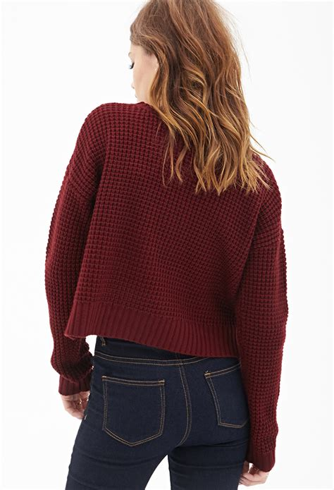 knitted sweaters forever 21 forever 21 cropped waffle knit sweater in lyst